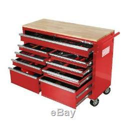 Mobile Workbench Tool Chest Tool Cabinet Wooden Work Surface 46 in. 9-Drawer