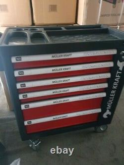 Muller Kraft 6 Drawer & Side Cabinet Locking Tool Chest Cart with 245 Tools