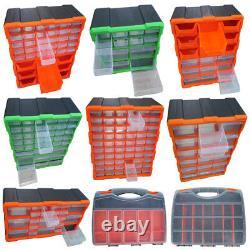 Multi Unit Drawer Double Storage Cabinet Box DIY Workshop Tools Organizer Case