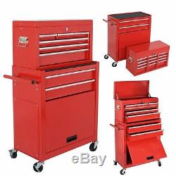 Portable Removable Top Chest Rolling Tool Storage Box Cabinet Sliding 6 Drawers