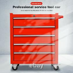Pro 5 Drawers Metal Tool Chest Storage Rollcab Box Roller Cabinet