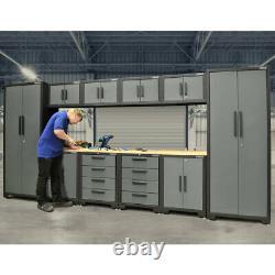 Professional Garage Tool Storage 11 Piece Modular Steel Cabinet Set Mechanics