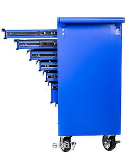 Professional Tool Chest Roller Cabinet 7 Drawer With Ball Bearing Runners Blue