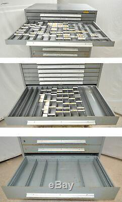 Rack Engineering 16-Drawer Tool Storage Parts Cabinet Divider Metal Vidmar Style