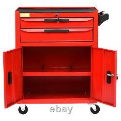 Roller Tool Cabinet Storage Chest Box 2 Drawers Roll Wheels Garage Workshop Red