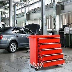 Roller Tool Cabinet Storage Chest Box 5 Drawers Roll Wheels Garage Workshop Red