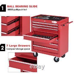 Roller Tool Cabinet Storage Chest Box 7 Drawers Roll Wheels Garage Workshop Red