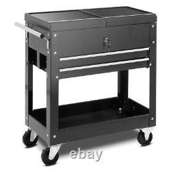 Rolling Tool Cart Utility Storage Cabinet Metal Drawers Tray Mechanics Slide Top