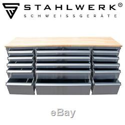 STAHLWERK workshop trolley tool cart chest box roller 9 drawers 6 big drawers