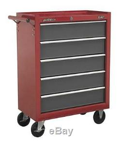 Sealey 5 Drawer Roll Cab Roller Tool Cabinet Bottom Box Ball Bearing Drawers Red
