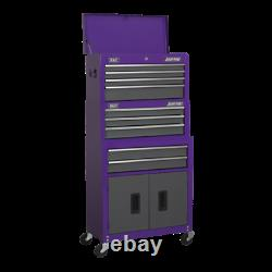 Sealey AP2200BBCPSTACK Top Chest Box Rolling Wheels Tool Cabinet 9 Drawer Purple