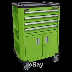 Sealey AP980MTHV Hi-VIZ Mobile Tool Trolley Cart, 4 Drawers & 2 Door Cupboard