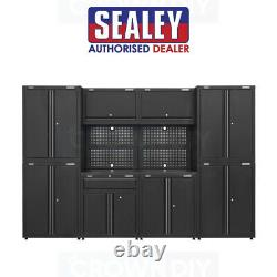 Sealey APMS10HFP Full Garage Storage System Black Tool Storage Cabinet Drawers