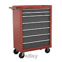 Sealey Locking Rollcab 7 Drawer Mechanics Tool Box/Chest Red/Grey AP22507BB