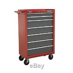 Sealey Locking Rollcab 7 Drawer Mechanics Tool Box/Chest Red & Grey AP22507BB