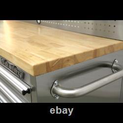 Sealey Mobile Stainless Steel Tool Cabinet 10 Drawer Backboard & 2 Wall Cupboard