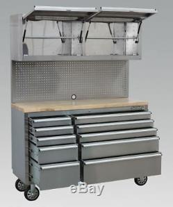 Sealey Mobile Stainless Steel Tool Cabinet 10 Drawer with Backboard