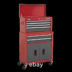 Sealey Topchest & Rollcab Combination 6 Drawer Ball Bearing Slides Red / Grey
