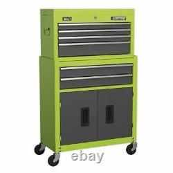 Sealey Topchest & Rollcab Combo 6 Drawer- Hi-Vis Green/Grey AP2200BBHV