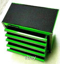 Snap-On New GREEN Mini Bottom Tool Box 5 Drawers Base Cabinet Chrome Trim Micro