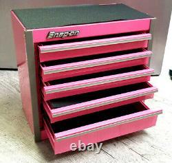 Snap-On New PINK Mini Bottom Tool Box 5 Drawers Base Cabinet Chrome Trim Micro