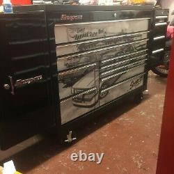 Snap on 55 Black Tool box Roll cab has black armour top, side drawer and cabinet