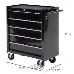 Steel 5-Drawer Tool Storage Cabinet Lockable with Wheels Handle 2 Keys Garage