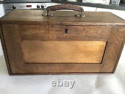 Superb Vintage Engineers Tool Chest Cabinet CQR 1940s Oak Key 6 drawers