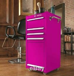 The Original Pink Box 4-Drawer Rolling Steel Tool Box Salon Cabinet