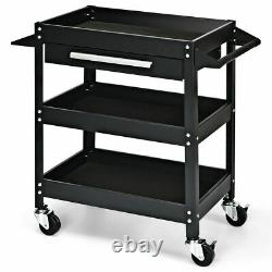 Three Tray Rolling Tool Cart Mechanic Cabinet Storage Organizer With Drawer