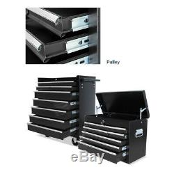 Tool Box Roller Cabinet Steel Chest 16 Drawers Workshop Pro Gloss Black