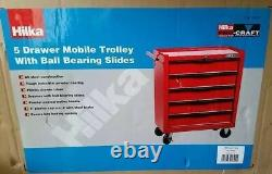 Tool Chest Trolley Hilka 5 Drawer Red Mobile Storage Roll Cabinet Unit Cart Box