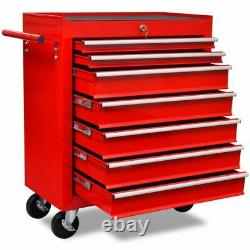 Tool Chest Trolley With 7 Drawer Red Metal Mobile Roll Wheels Cabinet Storage