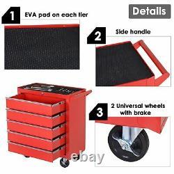 Tool Trolley 5 Chest Drawer Garage Workshop Rolling Cabinet Storage Organizer