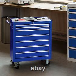Tool cabinet cart workshop wheel trolley tray ball bearing slides 7 drawer blue