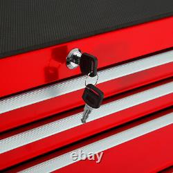 Tool cabinet cart workshop wheel trolley tray ball bearing slides 7 drawer red
