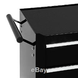 Tool cart 5 drawer workshop trolley tools cabinet steel chests box roller Black