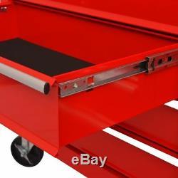 Trolley Steel Workshop Tools Cabinet Lockable Storage Box 14 Sliding Drawers Red