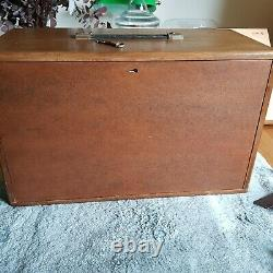Union 7 Drawer Original Engineer Wooden Tool Chest Cabinet Toolbox With Key