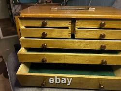 Union 8 Drawer Original Engineer Wooden Tool Chest Cabinet Toolbox With Keys