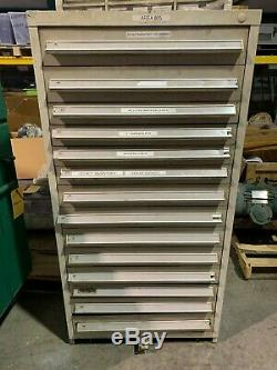 Used Stanley Vidmar style 14 Drawer cabinet tool parts storage CONTENTS TOOLS
