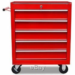 VidaXL 5 Drawers Mechanics Tool Trolley Red Workshop Chest Box Storage Cabinet