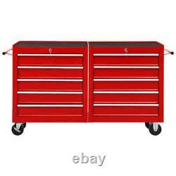VidaXL Tool Trolley with 10 Drawers Steel Red Tool Storage Drawer Cabinet Cart