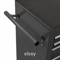 VidaXL Tool Trolley with 14 Drawers Steel Black Tool Storage Drawer Cabinet