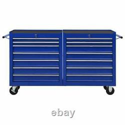 VidaXL Tool Trolley with 14 Drawers Steel Blue Tool Storage Drawer Cabinet
