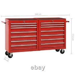VidaXL Tool Trolley with 14 Drawers Steel Red Tool Storage Drawer Cabinet Cart