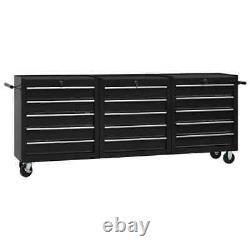 VidaXL Tool Trolley with 15 Drawers Steel Black Tool Storage Drawer Cabinet