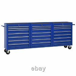 VidaXL Tool Trolley with 21 Drawers Steel Blue Tool Storage Drawer Cabinet