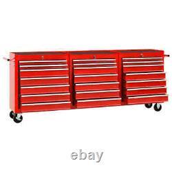 VidaXL Tool Trolley with 21 Drawers Steel Red Tool Storage Drawer Cabinet Cart