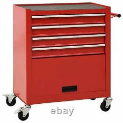 VidaXL Tool Trolley with 4 Drawers Steel Red Workshop Tool Cabinet Cart Chest